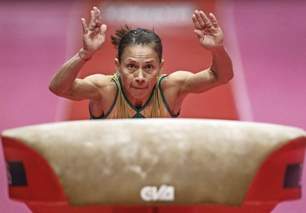 Hebt auch in Rio nochmal ab: Oksana Chusovitina    Foto: dpa