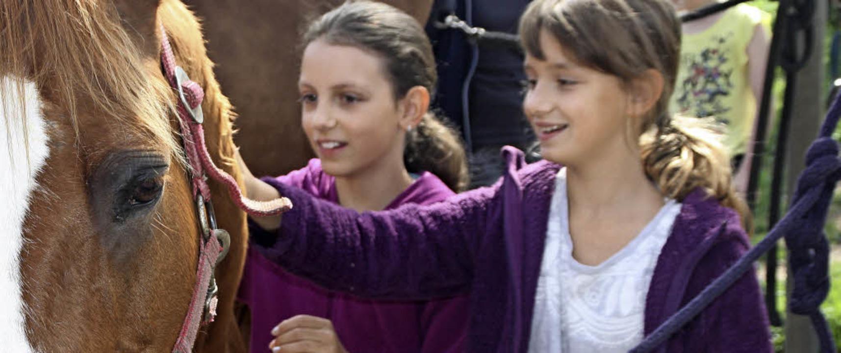 Siria und Lena haben beim Sommerferien...sch die Nähe zum Pony Foxxy gefunden.   | Foto: Gerd Leutenecker