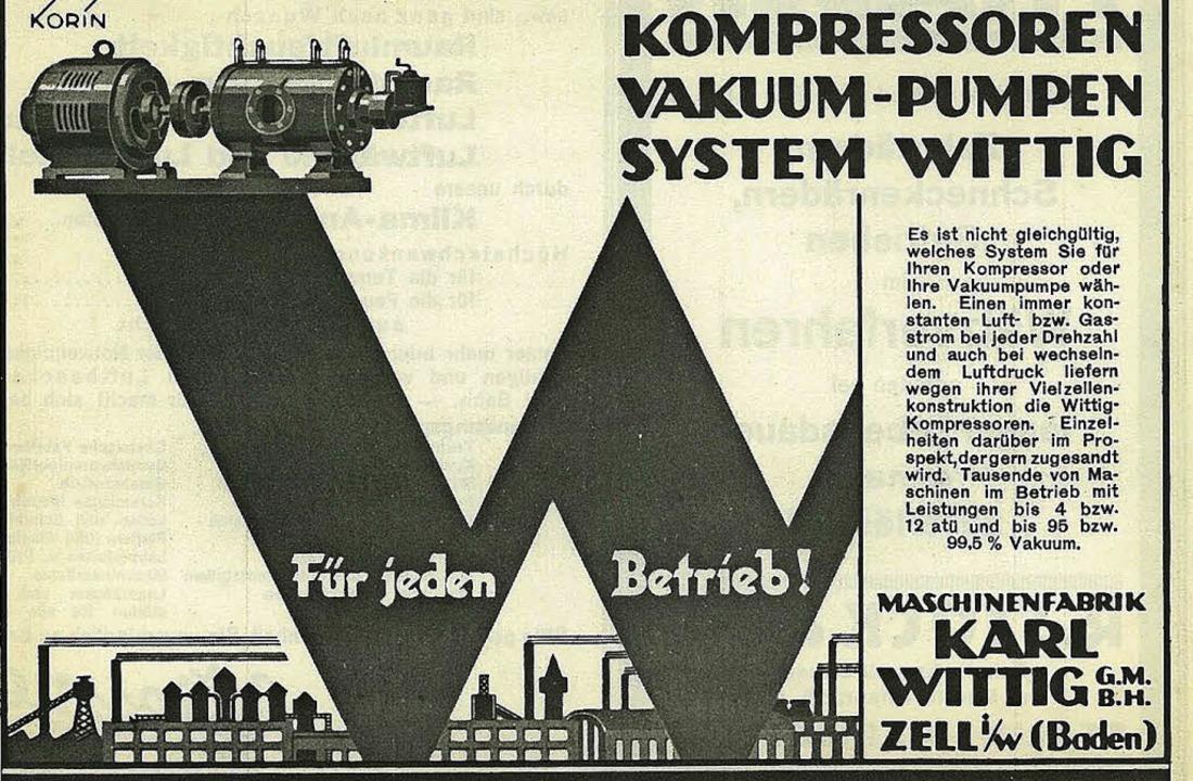 Werbeanzeige der Maschinenfabrik Karl Wittig aus dem Jahr 1934  | Foto: Uli Merkle
