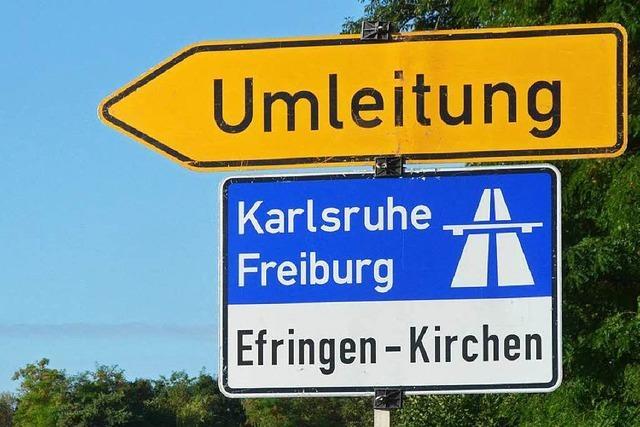 Straße gesperrt: durch Efringen-Kirchen geht es ab Montag nur über B 3 und Bahnhofstraße