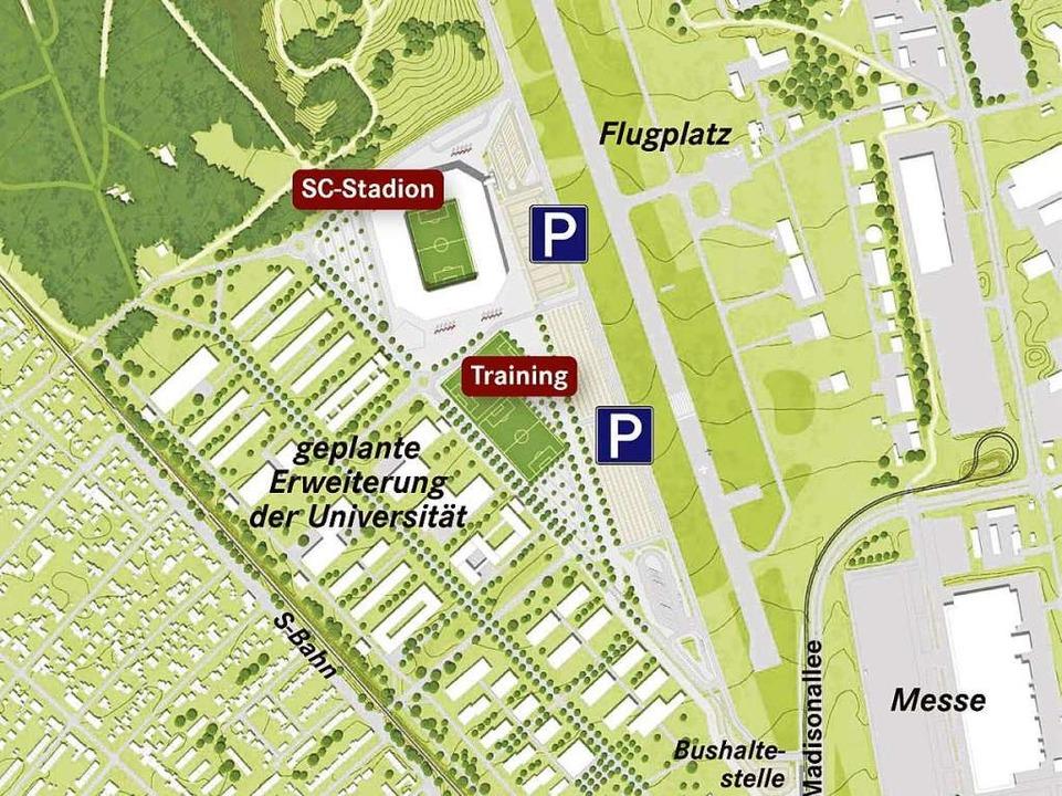 So in etwa könnte die neue SC-Arena auf dem Flugplatzareal aussehen