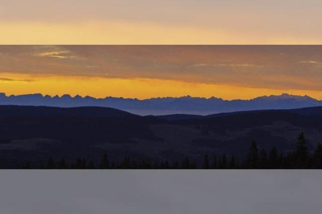 Alpensicht auf dem Kandel, morgens um 6 Uhr