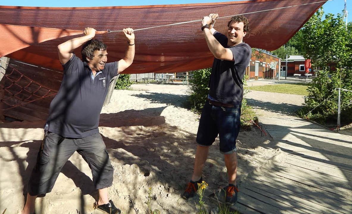 Ziehen fürs Ferienprogramm an einem St...Kaltenbach (links) und Malte Lindeman   | Foto: Gempp