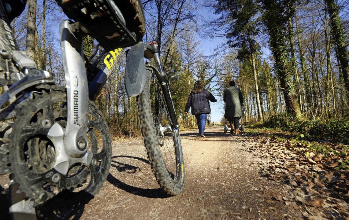 Im Wald dürfen sich Fußgänger und Fahr...e Quere kommen, gibt es genaue Regeln.    Foto: dpa/Felix Kästle