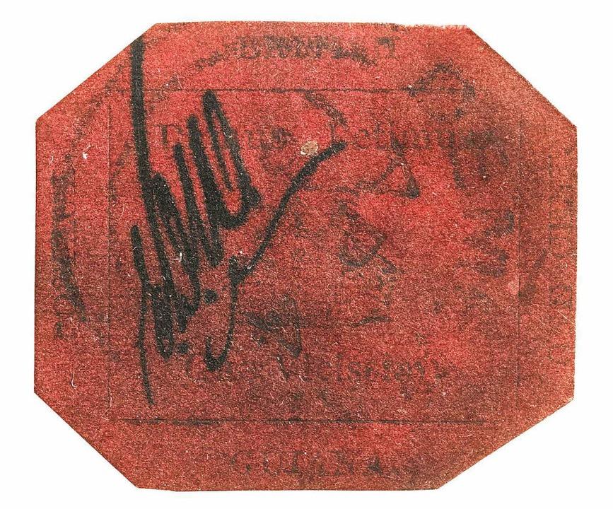 """Die Briefmarke """"British Guiana 1... Millionen Dollar versteigert wurde.      Foto: Sotheby's"""