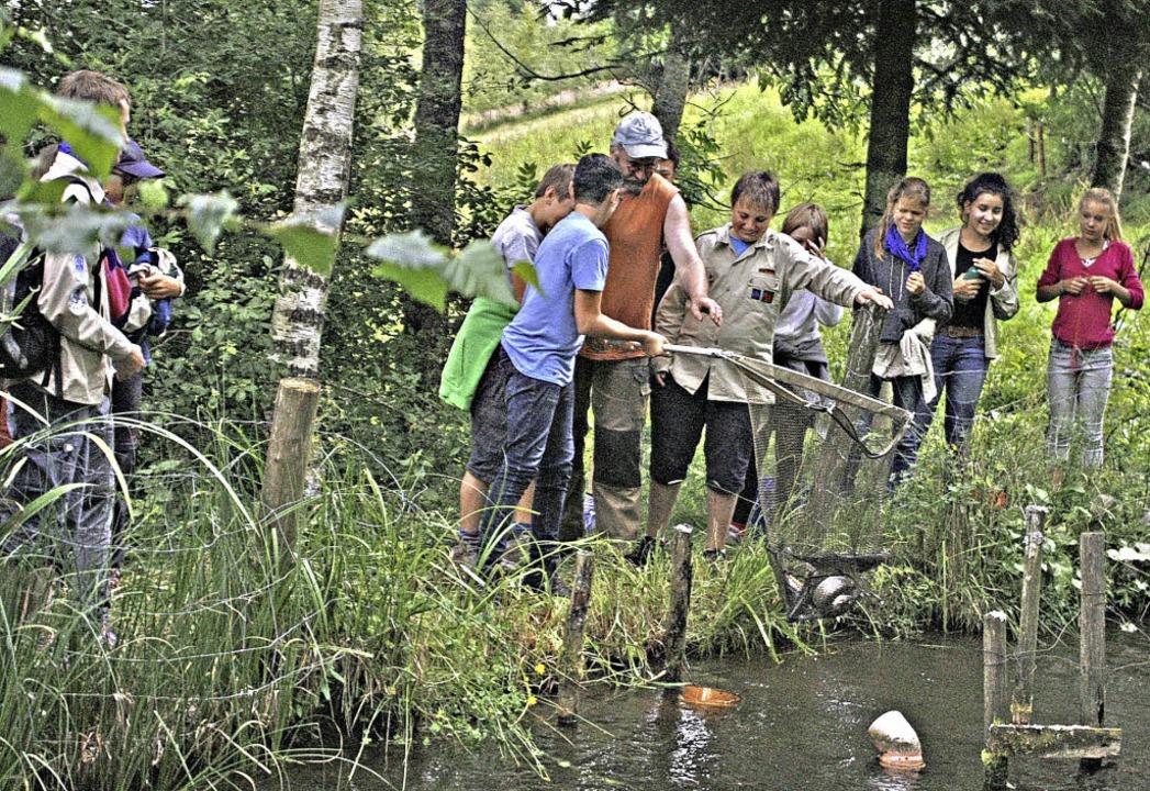 Sehr lehrreich war der Besuch beim For...dfinder selbst Fische  fangen konnten.  | Foto: Lukas Heitz