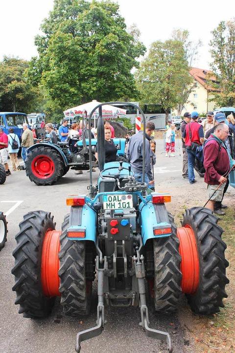 300 Eicher-Traktoren der verschiedenst...ei perfektemWetter und guter Stimmung.  | Foto: Christa Maier