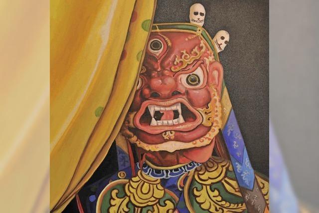 Werke zeitgenössischer Künstler aus Bhutan in der Klosterscheune in Oberried