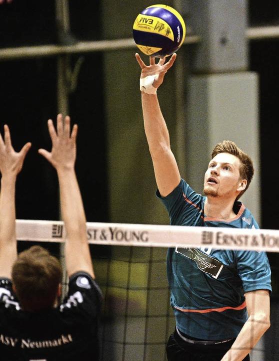 Er wird den Freiburger Volleyballern n...alomon hat sich am Ellbogen verletzt.   | Foto: Archivfoto: Patrick Seeger