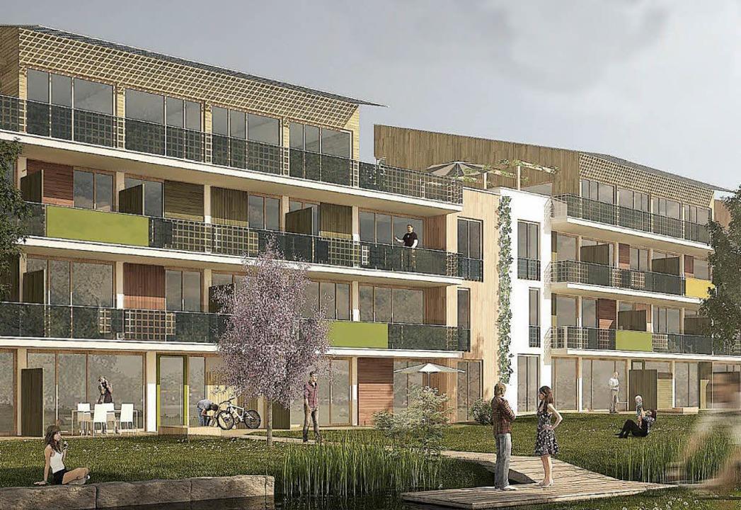 Mit diesem Entwurf für den Riegelbau i...Rolf Disch den Gemeinderat überzeugt.   | Foto: Visualisierung: Disch