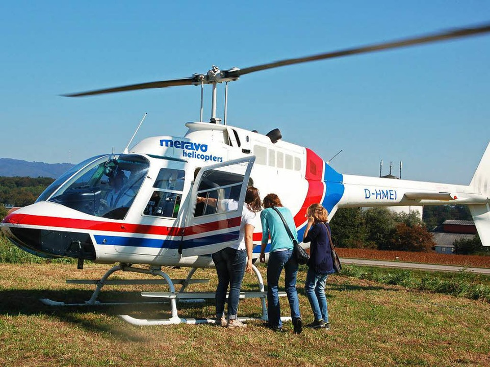 Mit dem Helikopter in die Luft zu gehen, war ein  besonderer Höhepunkt.  | Foto: Petra Wunderle
