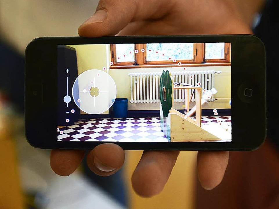 So sieht die Flugbahn eines Schokokusses mit der Smartphone-App aus.  | Foto: Ingo Schneider