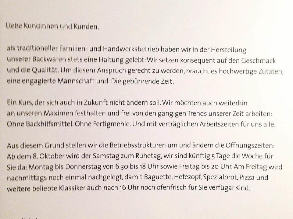 Mit einem Brief hat die Bäckerei ihre Kundschaft informiert.  | Foto: Markus Hofmann
