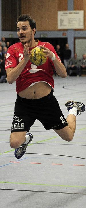 <BZ-FotoAnlauf>Handball:</BZ-FotoAnlau...nes Betzler warf insgesamt acht Tore.   | Foto:  PBS