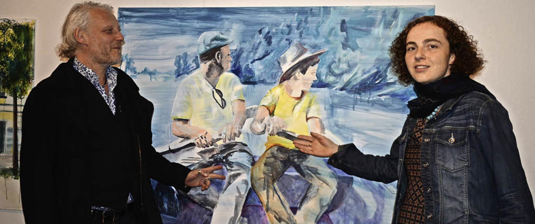 """Leiselheim. Die Malkünstler Christine ...ld """"Sitzen in einem Boot"""".    Foto: Roland Vitt"""