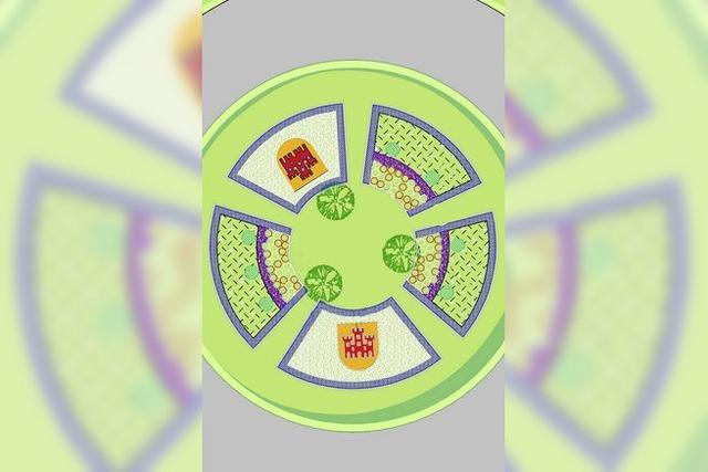 Blumen und Wappen für den Kreisverkehr