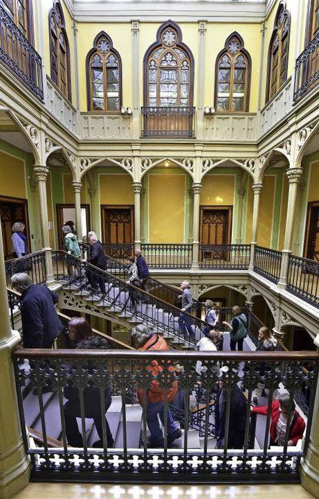 Das beeindruckende Treppenhaus im Colombischlössle    Foto: thomas kunz