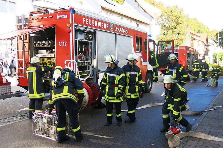 Feuerwehren aus der ganzen Region nahmen an der Chilbiprobe in Bonndorf teil. (Foto: Erhard Morath)