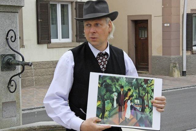 Mit Schauspieler Wigand Neumann auf den Spuren August Mackes in Kandern