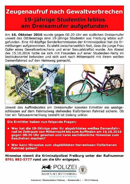 Der zweite Flyer der Freiburger Polize...das Fahrrad der getöteten 19-Jährigen.  | Foto: Polizei Freiburg