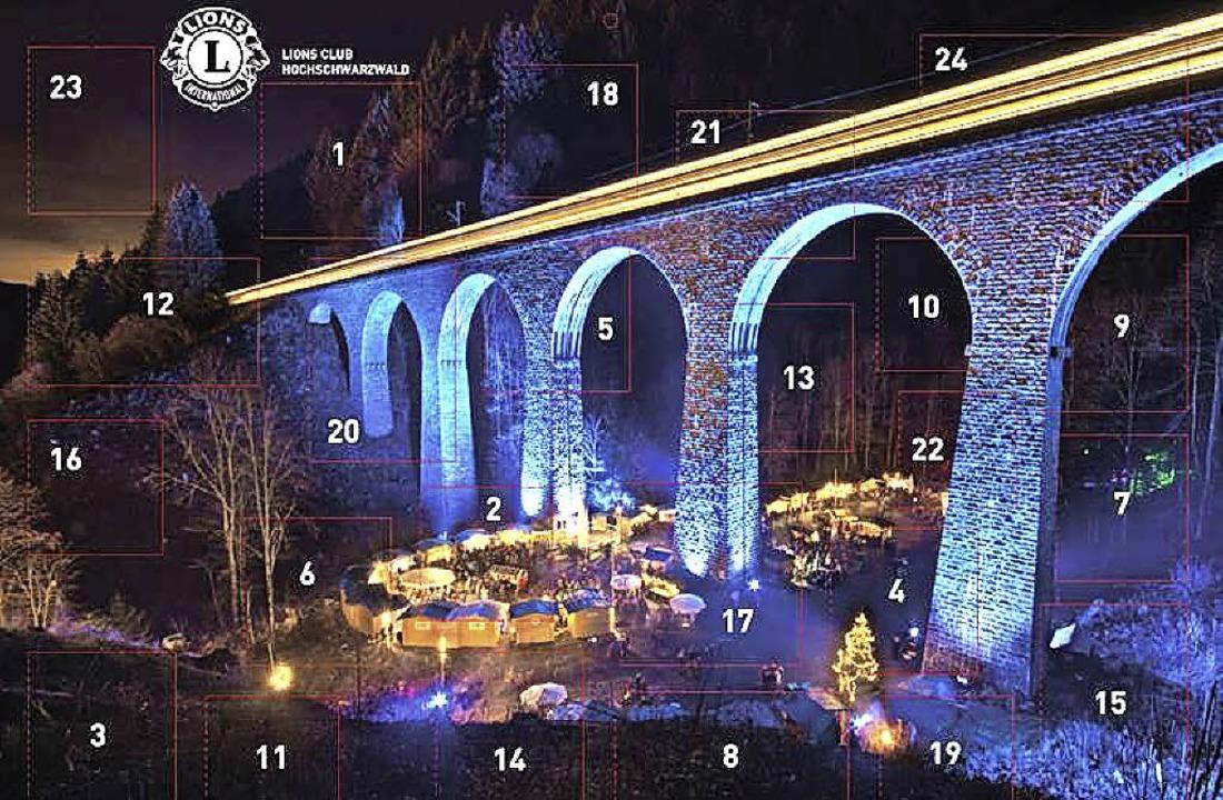 Das Deckblatt des Kalenders, der Weihn...schlucht mit dem beleuchteten Viadukt   | Foto: Repro: Carola Holzer/HTG