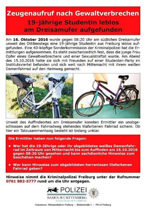 Mit einem neuen Flugblatt bittet die Polizei Freiburg die Bevölkerung um Hilfe.  | Foto: Polizei Freiburg