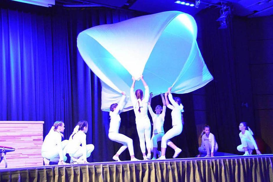Auf der Bühne wurde jongliert, geturnt; und es gab waghalsige Saltos zu sehen. In den Programmpausen wirbelten die Tanzpaare durch den Bürgersaal. (Foto: Horatio Gollin)