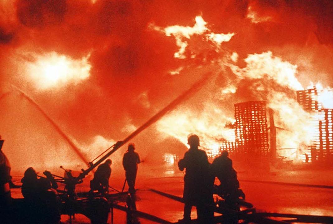 Das Archivbild vom 1. November 1986 ze...doz in Muttenz/Schweizerhalle löschen.  | Foto: dpa