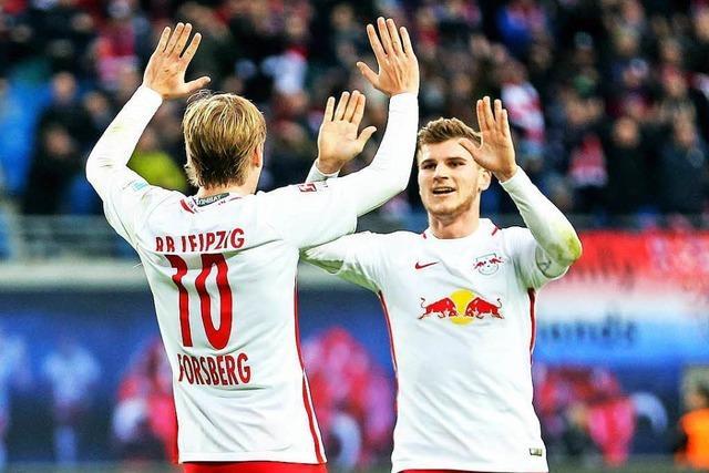 RB Leipzig besiegt Mainz und ist punktgleich mit Bayern