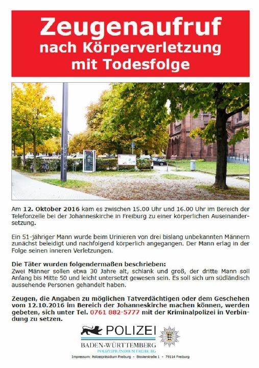 Mit diesem Flugblatt sucht die Polizei...ch Zeugen des Vorfalls am 12. Oktober.  | Foto: Polizei Freiburg