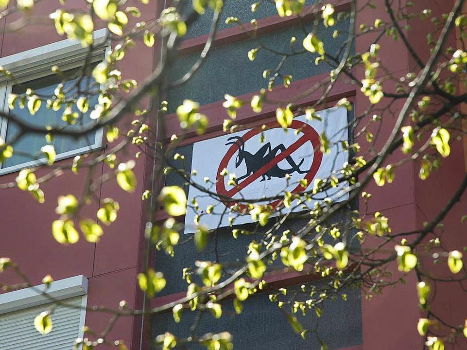 Symbol des Protests: die durchgestrichene Heuschrecke    Foto: brigitte Sasse