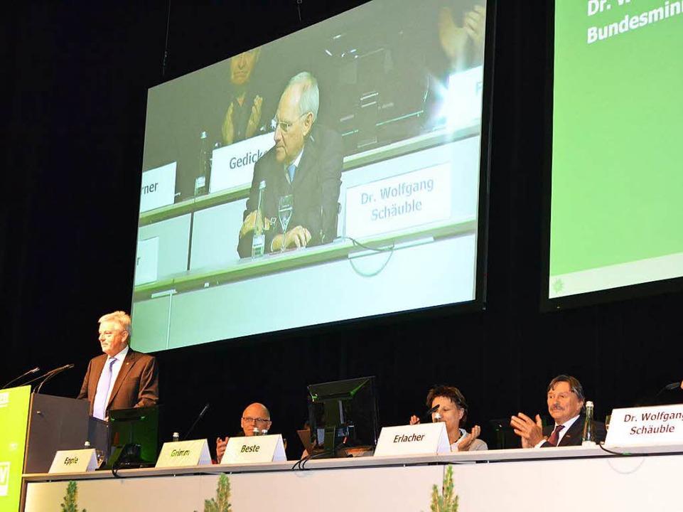 DAV-Präsident Josef Klenner (am Redner...ang Schäuble (auf der Videoleinwand).     Foto: Karin Reimold