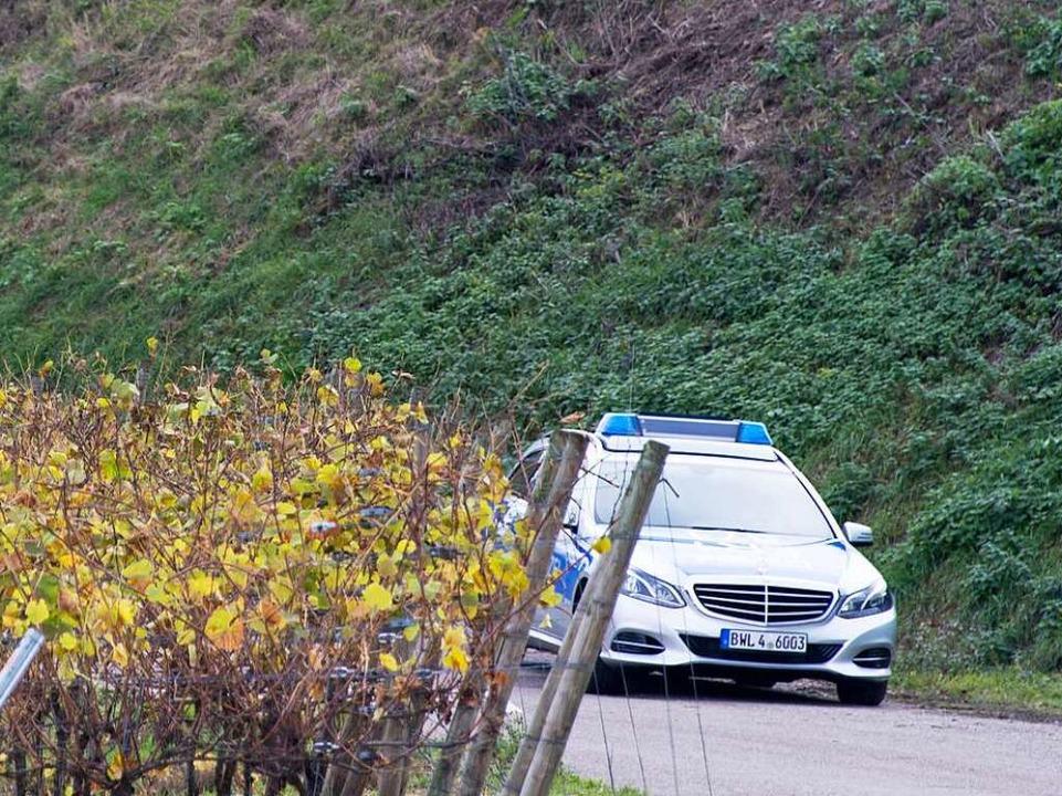 Ein Polizeifahrzeug steht nach dem Mor...oggerin in Endingen in einem Weinberg.  | Foto: dpa