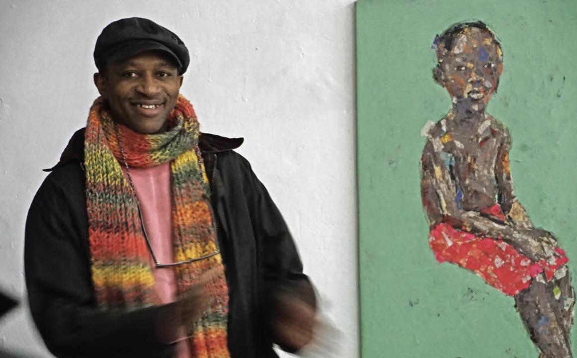 Emeka Udemba stellt in der Galerie Men...llung in den Räumen des alten E-Werks.  | Foto: Hüge