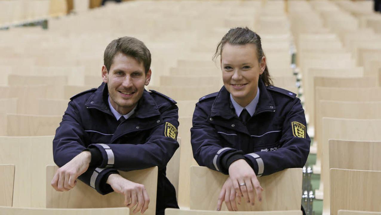 Haben ihre Berufung gefunden: Polizeia... Kawohl und Laurel-Michelle Borggreve     Foto: C. Breithaupt