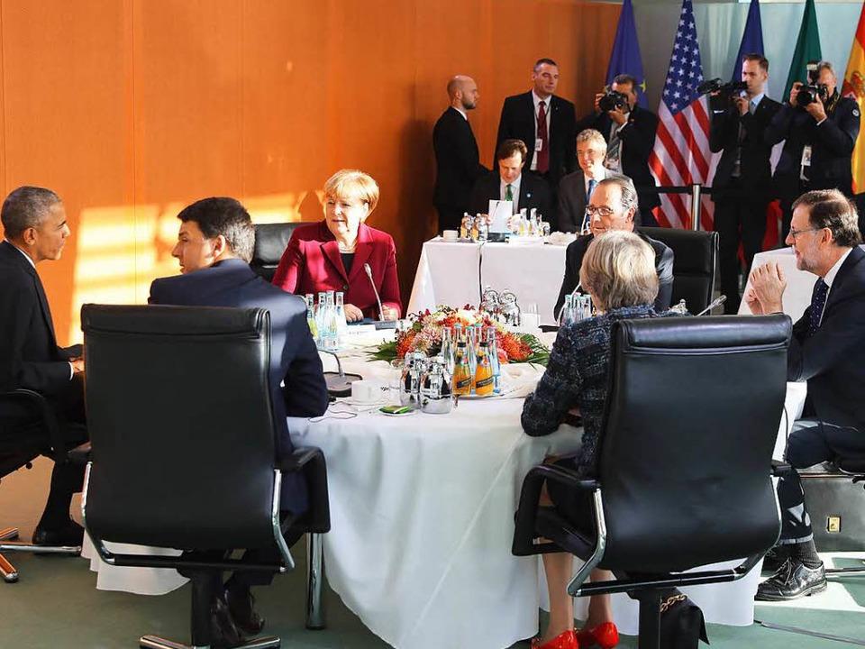 Barack Obama (v.l.) ,  Matteo Renzi,  ...llande, Theresa May und  Mariano Rajoy  | Foto: AFP