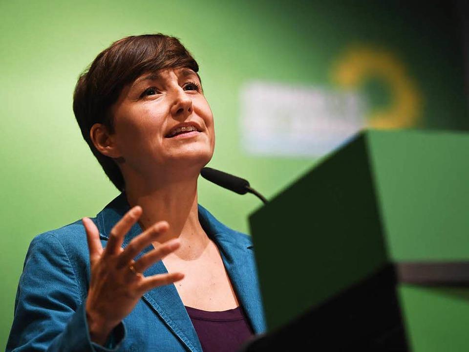 Sandra Detzer beim Landesparteitag der Grünen in Schwäbisch Gmünd  | Foto: dpa