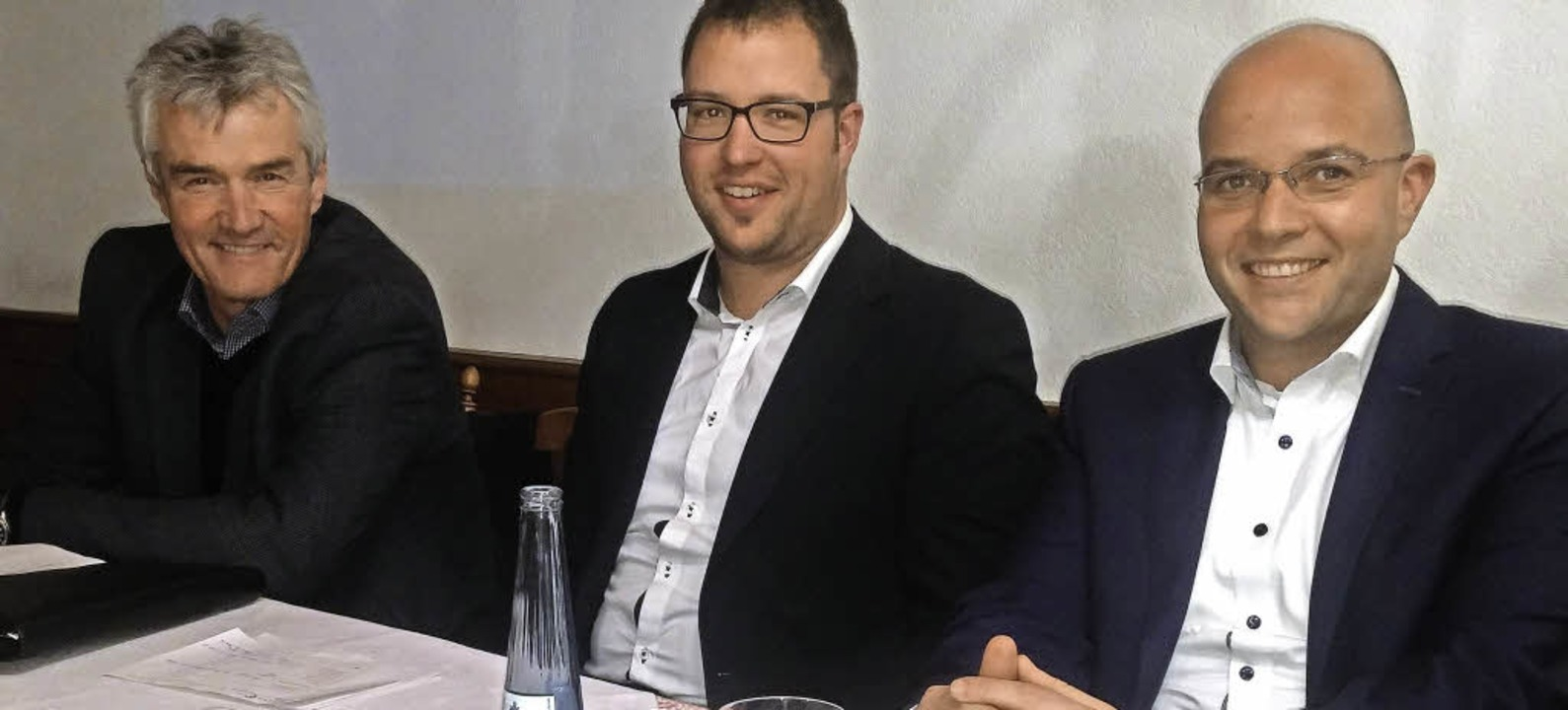 Markus Reich, CDU (rechts), freute sic...red Seng (links) und Manuel Schultis.   | Foto: Horst Dauenhauer