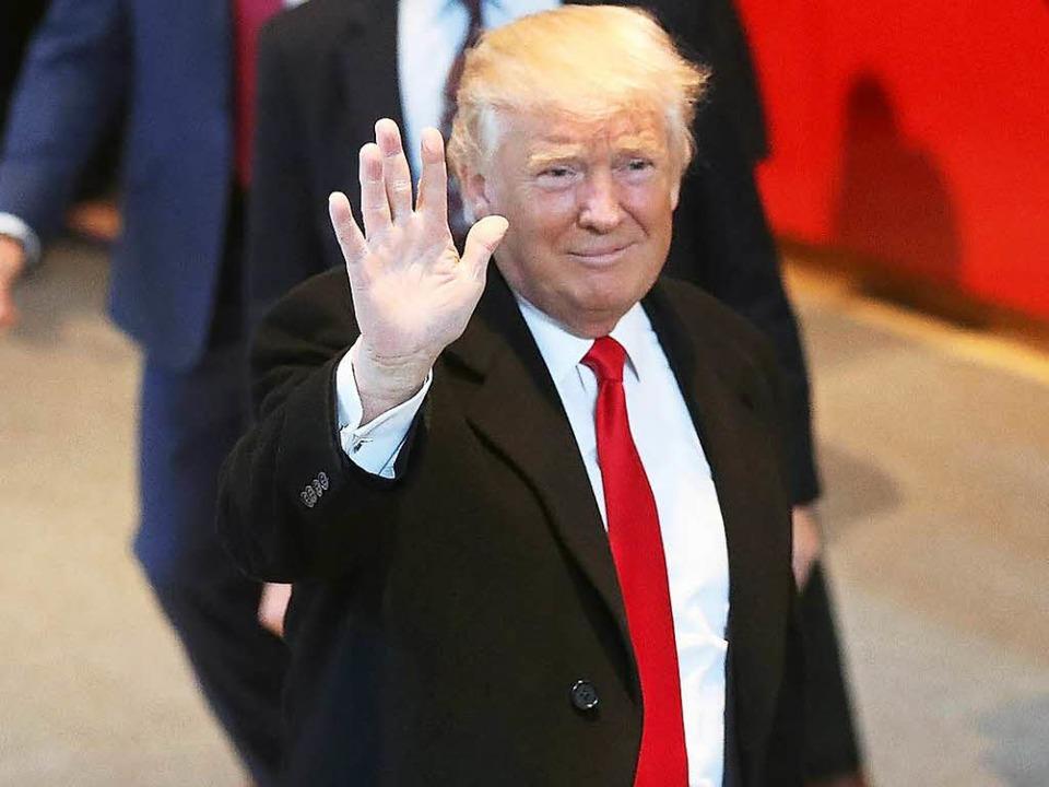 Donald Trump in der Lobby der New York Times  | Foto: AFP