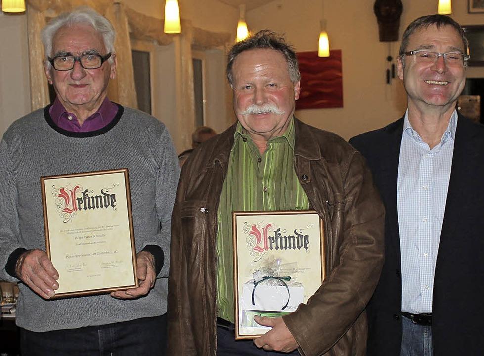 Für 25 Jahre Mitgliedschaft geehrt wur...ratulierte  WG-Chef Michael Schmidle.   | Foto: Mario Schöneberg
