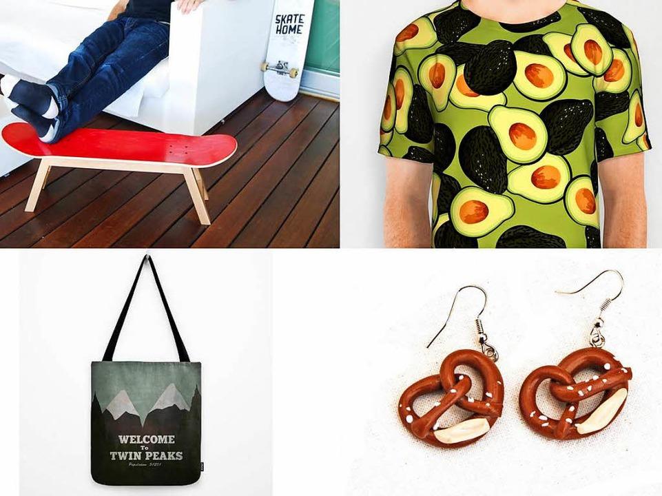 Das Skater-Möbelstück, das Avocado-Shi...ck-Ohrringe und die Twin-Peaks-Tasche.  | Foto: PR