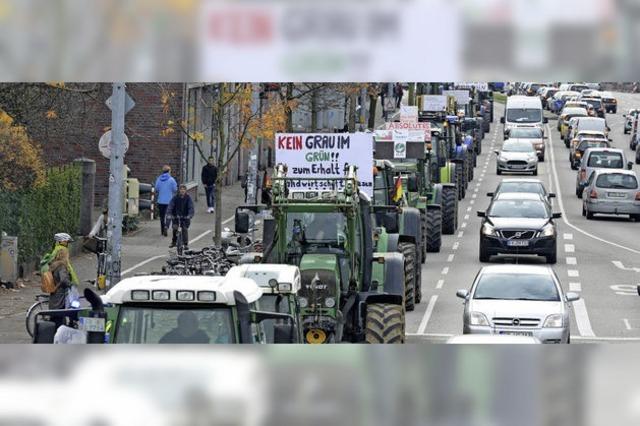 Landwirte demonstrieren gegen den Stadtteil Dietenbach
