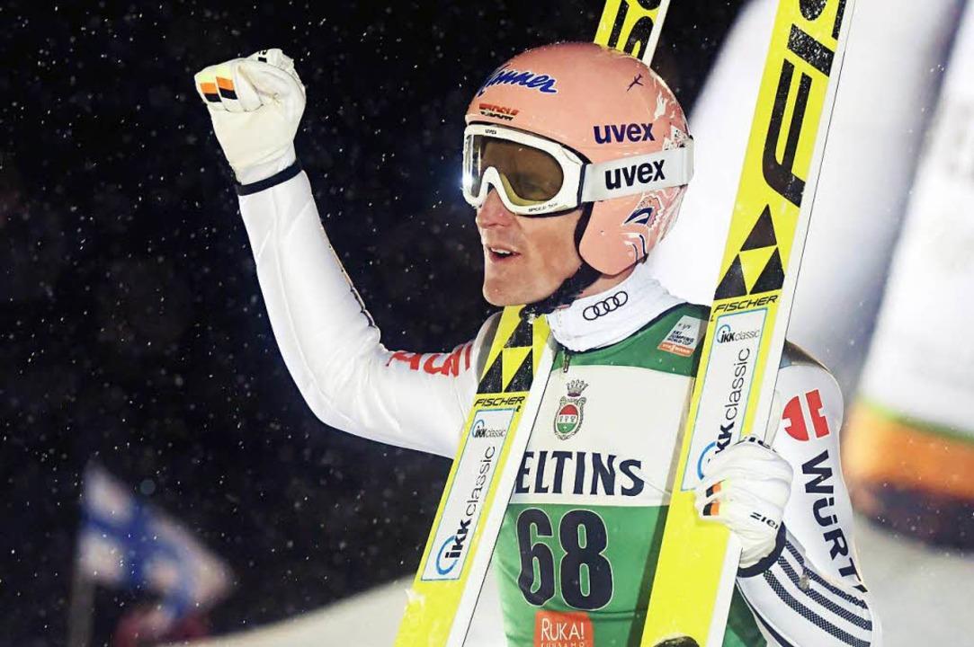 """""""Glauben kann ich das noch nicht...8211; Severin Freund nach seinem Sieg.    Foto: AFP"""