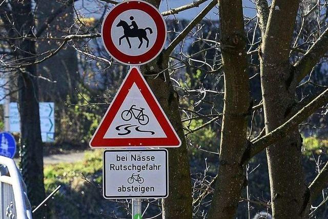 Neue Schilder warnen Radler vor rutschigem Schlosssteg