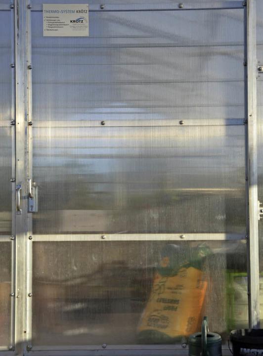 Die Tür zum Gewächshaus der Stadtgärtnerei.  | Foto: Martin Wunderle