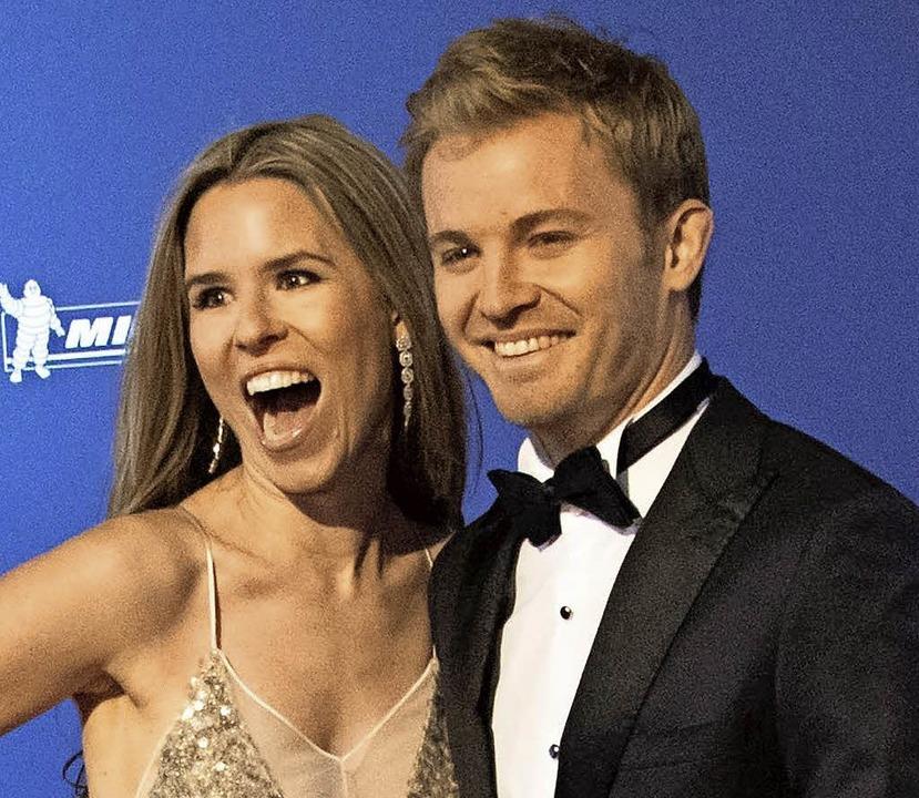 Rosberg und seine Frau Vivian beim Empfang in Wien     Foto: AFP