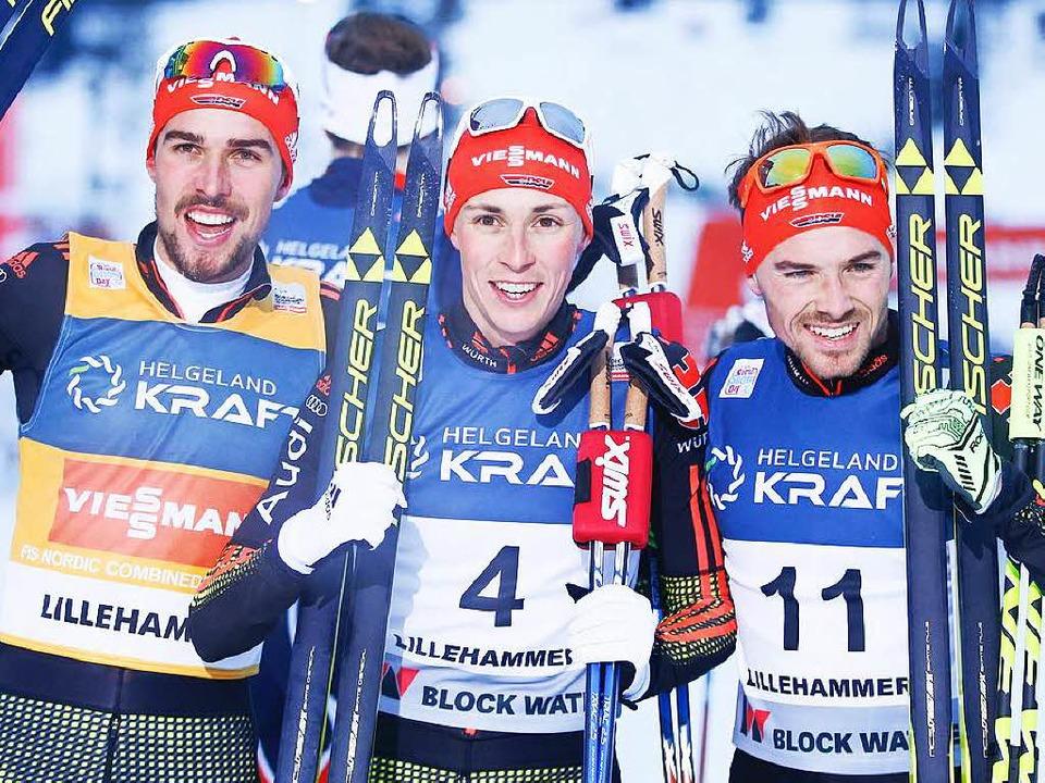 Das deutsche Erfolgstrio (von links): ...dzek,  Eric Frenzel und Fabian Riessle    Foto: AFP