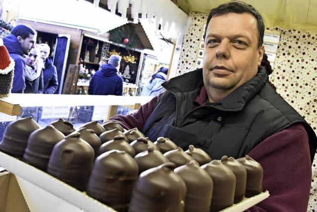 Plochers verkaufen 20 verschiedene Sorten Schokoküsse auf dem Kartoffelmarkt