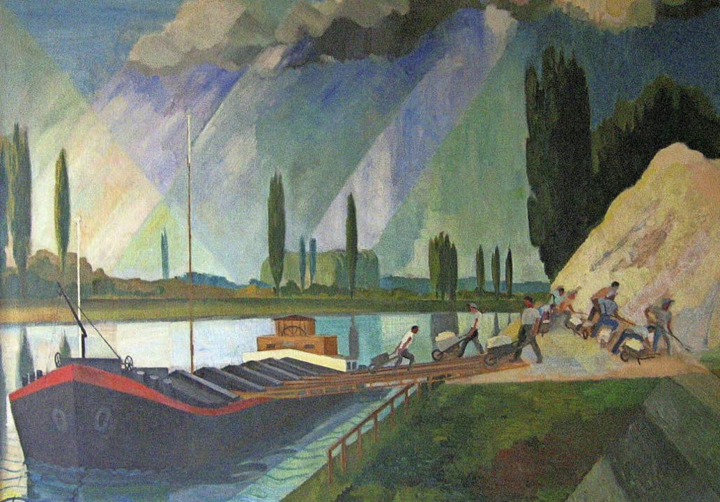 Öl auf Leinwand: Weiler Rheinhafen von Adolf Riedlin, um 1936 entstanden  | Foto: Repro: Dreiländermuseum
