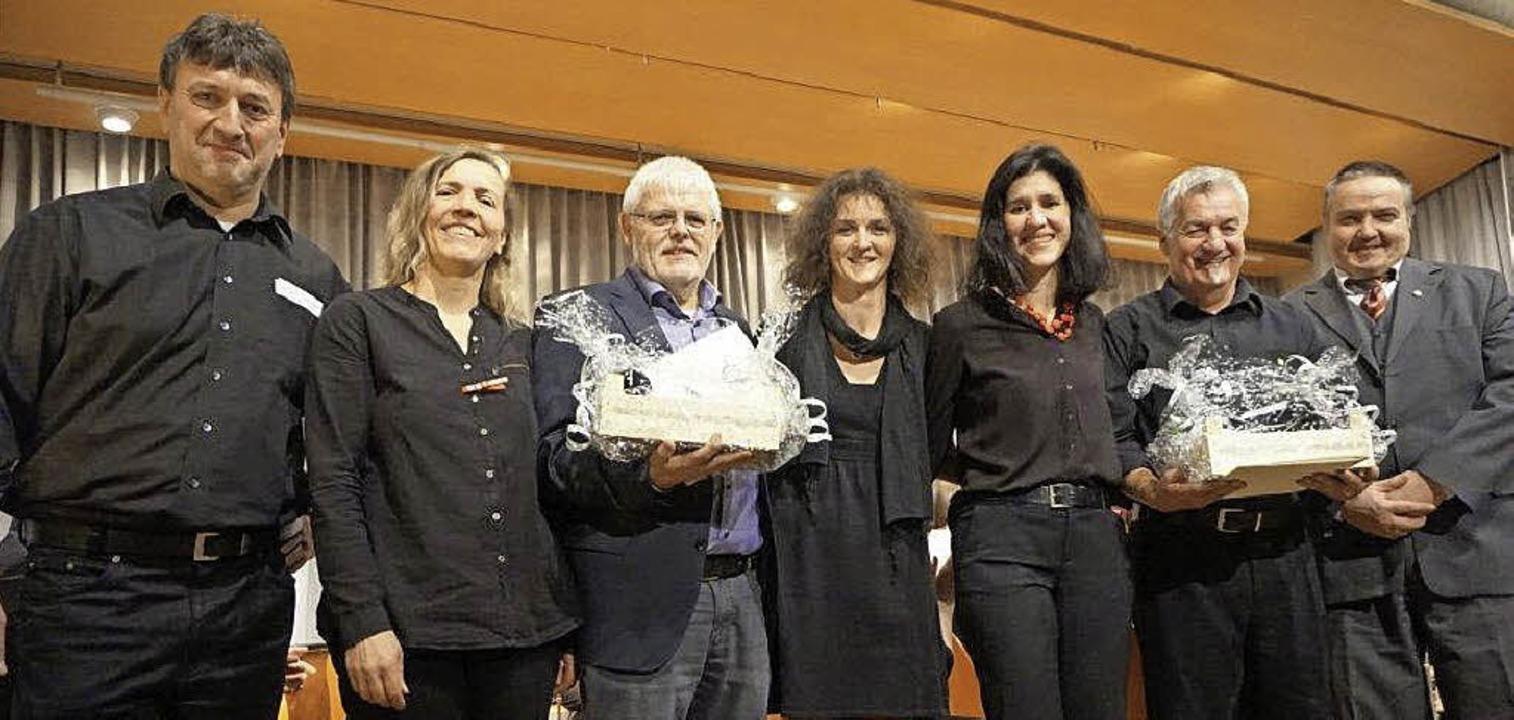 Günter Andris (links) und Klaus Heckle...dris, Tanja Neubert und Hubert Ernst.     Foto: Anne Freyer